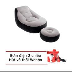Ghế hơi tựa lưng Intex + Tặng 1 bơm điện