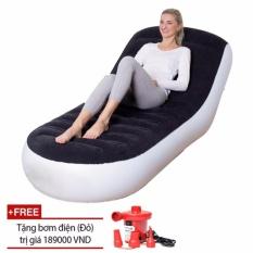 So Sánh Giá Ghế đệm hơi tựa lưng/ Ghế giường hơi đa năng PVC Flocked + Tặng bơm điện xả hút 2 chiều