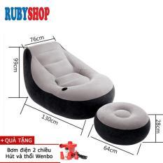 [Ghế + Kê chân] bơm hơi cao cấp Intex 68564 RubyShop + Tặng Bơm Điện