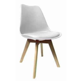 Ghế nhựa chân gỗ có nệm lót ( Màu trắng )