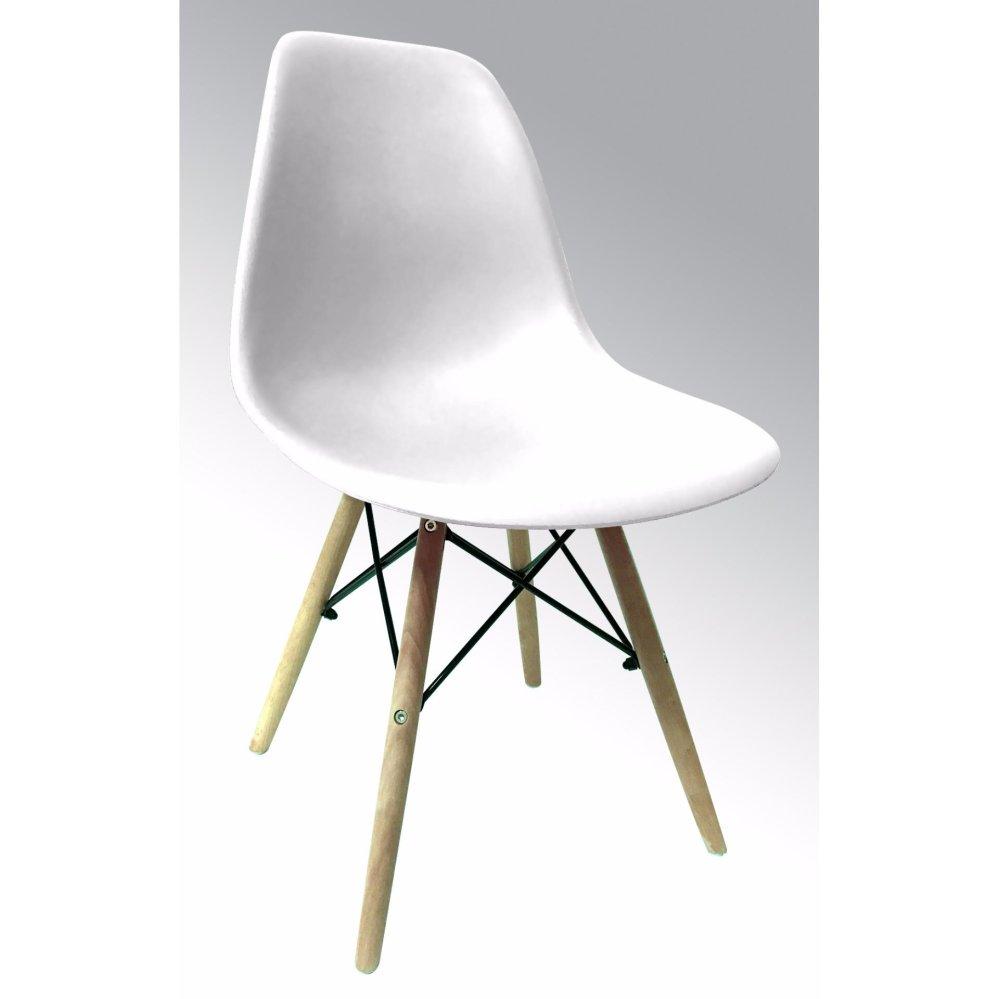 Ghế nhựa chân gỗ ( Màu trắng )