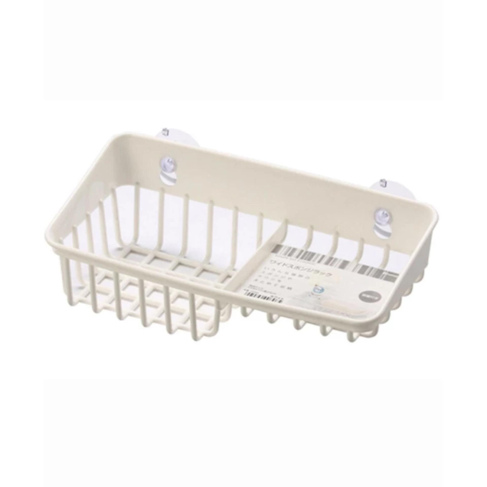 Giá để giẻ rửa bát 2 ngăn dạng lưới màu trắng Inomata – Hàng nhập khẩu Nhật Bản