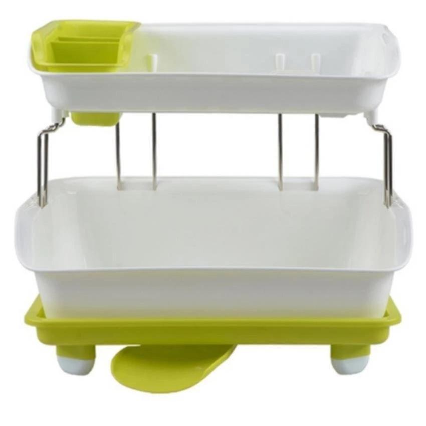 Chi tiết sản phẩm Giá úp bát đĩa 2 tầng có khay hứng nước (Xanh lá)