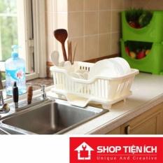 Giá úp bát đũa kèm khay thoát nước tiện lợi cho nhà bếp (trắng)