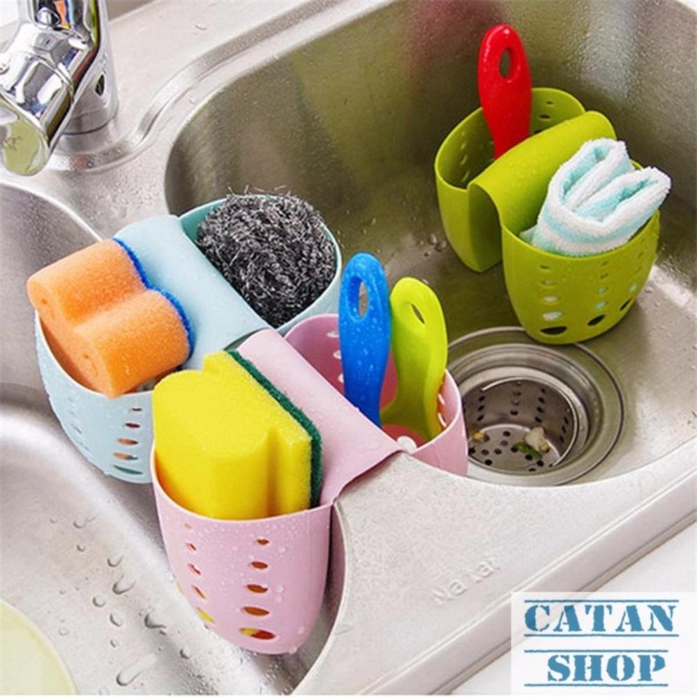 Giỏ treo, rổ treo bọt biển, rổ treo bồn rửa chén, bồn tắm, lavabo siêu tiện lợi GD16-RTDoi (giao màu ngẫu nhiên)