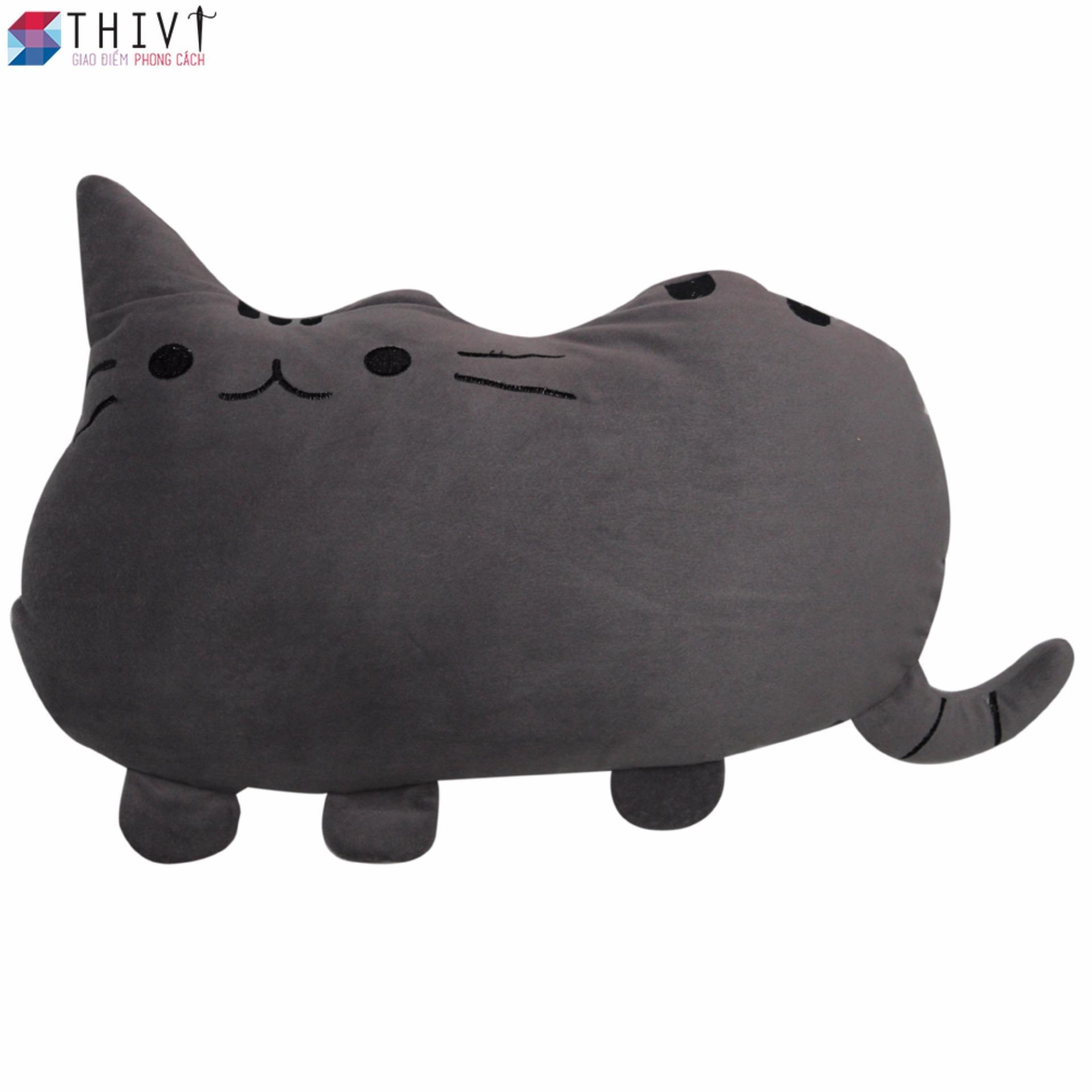 Gối Tựa Lưng Tạo Hình Chú Mèo 05 - Xám - THIVI