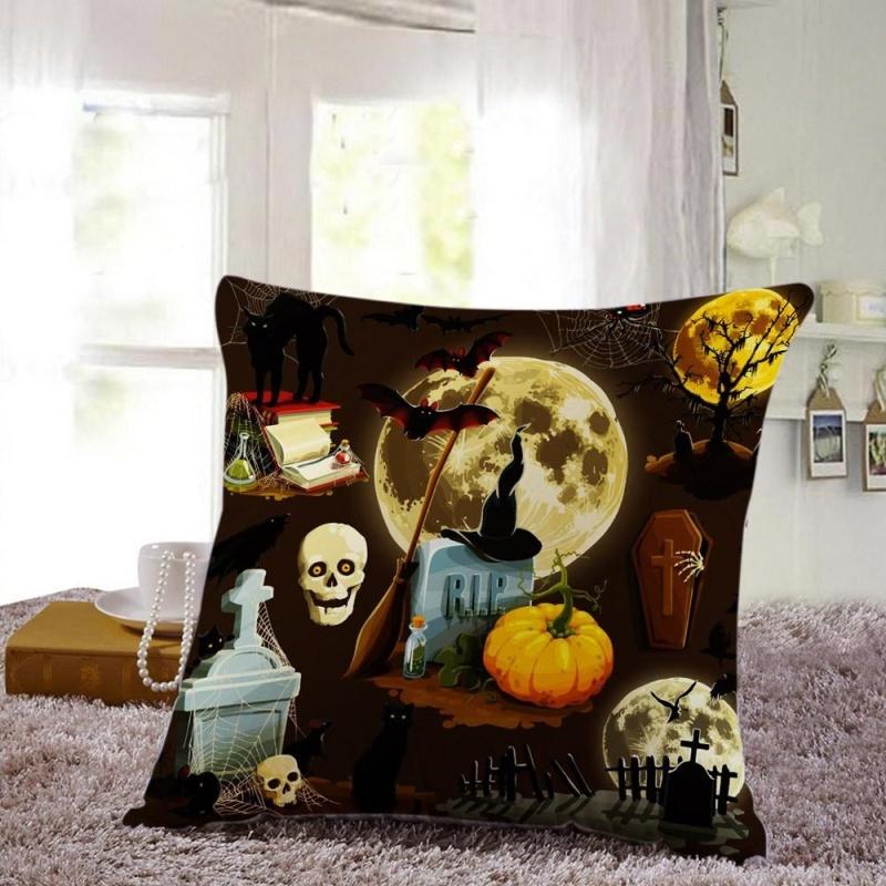 Bảng giá Mua Halloween Pillow Cases Linen Sofa Pumpkin ghosts Cushion Cover Home Decor F - intl