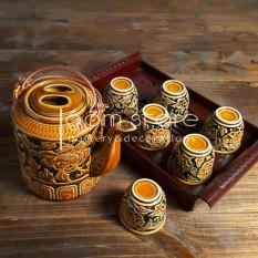 (HÀNG KỸ NGHỆ CAO) Ấm tích pha trà Bát Tràng khắc nổi vàng cánh rán