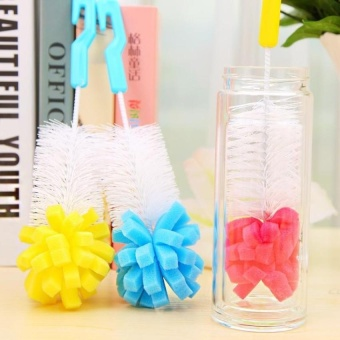 HappyLife Glass Sponge Cup Brush Practical Cleaning Brushes For Glassmilk Bottle/Family Use Cleaning Brush New D Random Delivery - intl