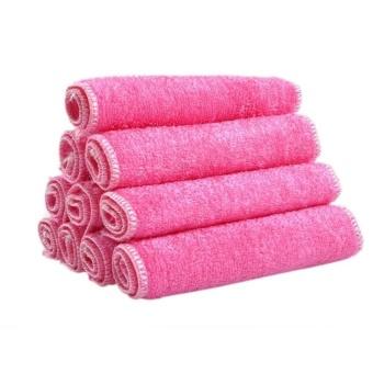 HappyLife Kitchen Dishcloth Absorbent Microfiber Towels Pink Set Of 10 - intl