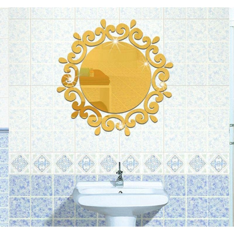 High Quality Store New Wall Stickers Decorative Room Wall-Mounted Mirrors (Golden) - intl