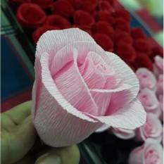 Hoa hồng giấy nhún handmade 1 bông