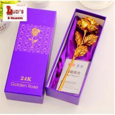 Hoa Hồng Mạ Vàng 3D Cao Cấp