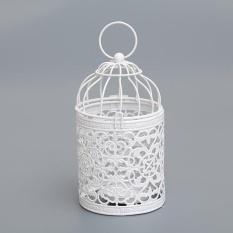 Rỗng ra Vintage Lồng Chim Candleholder Sáng Giá Đỡ Chân Nến Trắng Trang Trí-quốc tế