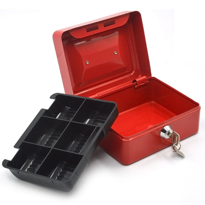 Home office 6 inch portable metal lockable cash coin money for Money storage box