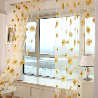 Honana 1x2m Sun Flower Voile Curtain Transparent Panel Window Room Divider Sheer Curtain Home Decor - intl