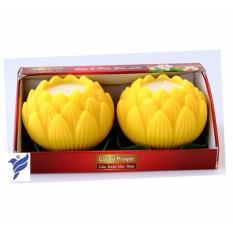 Hộp 2 nến thơm hoa sen lớn Quang Minh Candle FTM-NQM2547 (Vàng)