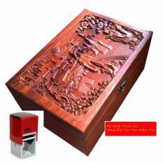 }Hộp đựng con dấu bằng gỗ hương đỏ mặt trạm tích khổng tử đọc kinh thư (HD02)