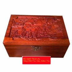 }Hộp đựng con dấu bằng gỗ hương đỏ quý mặt trạm bát tiên (HD01)