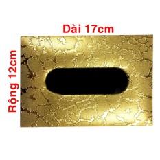 Hộp đựng giấy ăn đẹp hình chữ nhật vân da rắn vàng 126