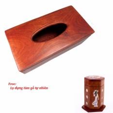 Hộp đựng giấy ăn gỗ Trơn cao cấp tặng lọ đựng tăm khảm trai