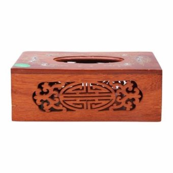 Hộp đựng giấy khảm trai hình chữ nhật có lọng (Nâu)