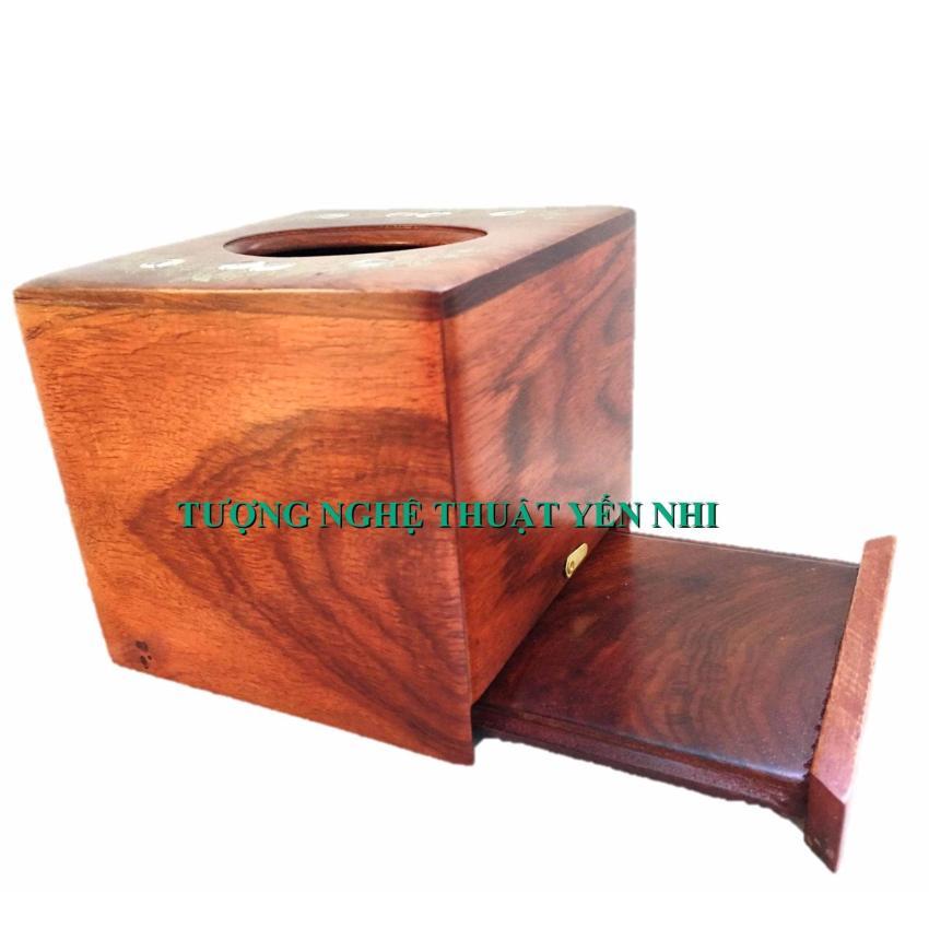 Hình ảnh Hộp đựng khăn giấy vuông kèm ống tăm cao cấp gỗ hương lọng hoa văn