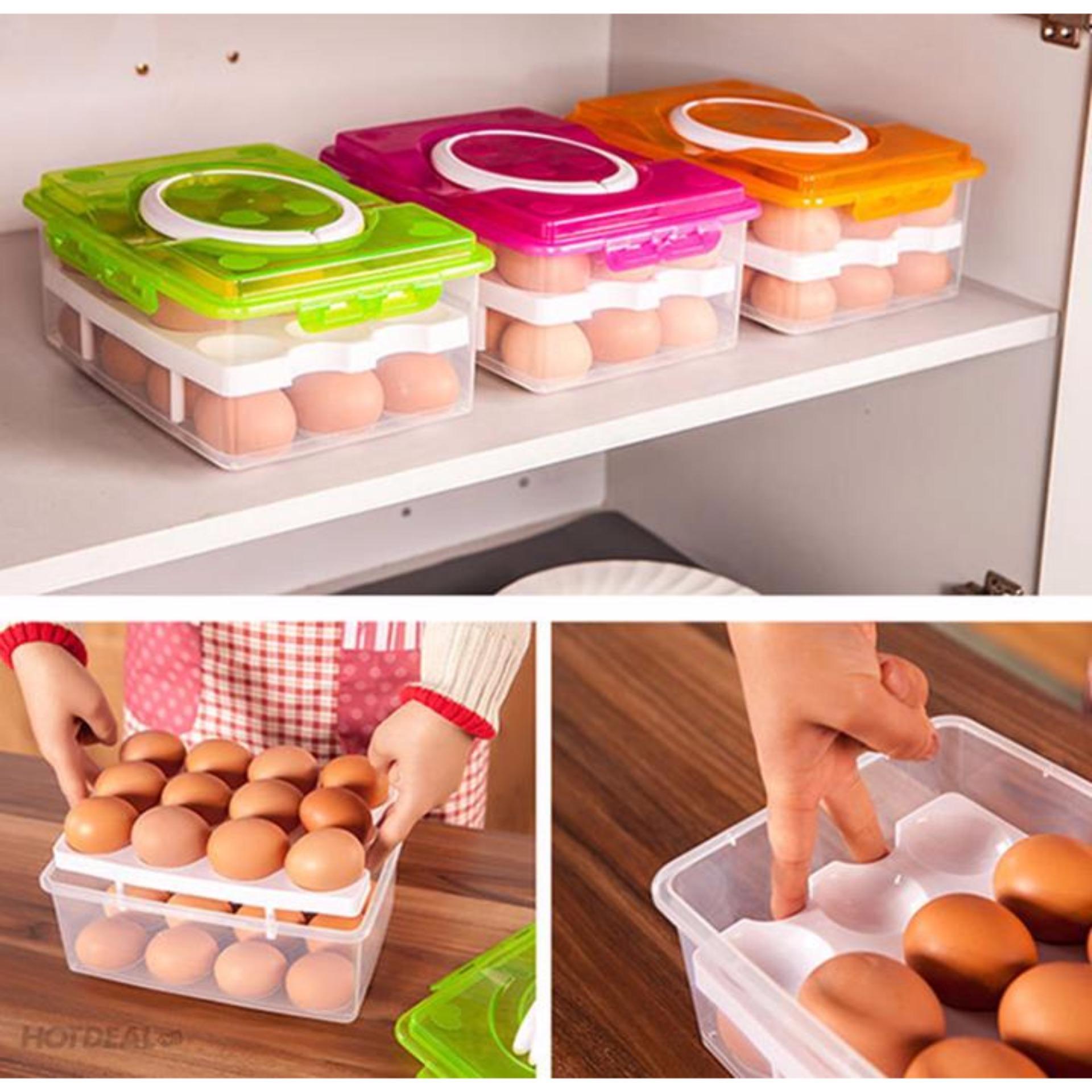 Hộp đựng trứng tiện dụng 2 tầng