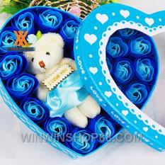 Hộp quà trái tim gấu và hoa hồng sáp (Tím)