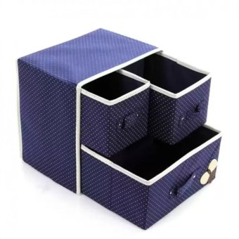 Hộp vải đựng đồ lót tất 2 tầng 3 ngăn kéo màu tím