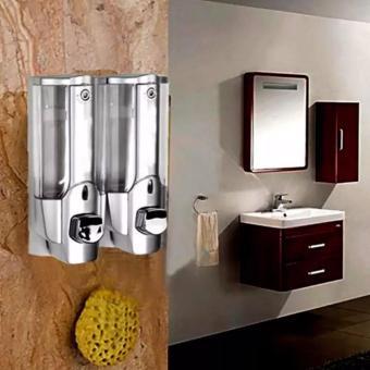 Hộp xà phòng nhấn 2 bình gắn tường cao cấp(Bạc)