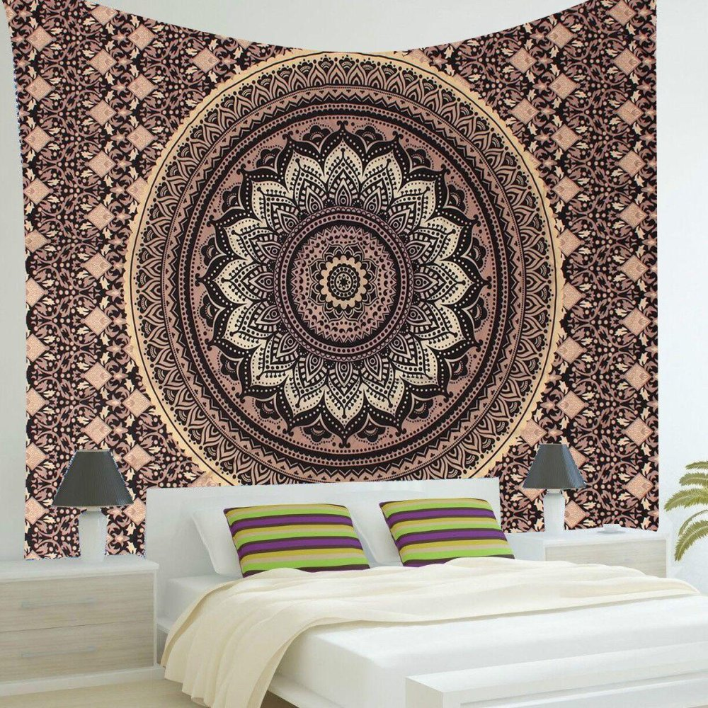 Báo Giá Indian Ombre Mandala Hippie Gold Black Wall Hanging Tapestry Bedspread Decor