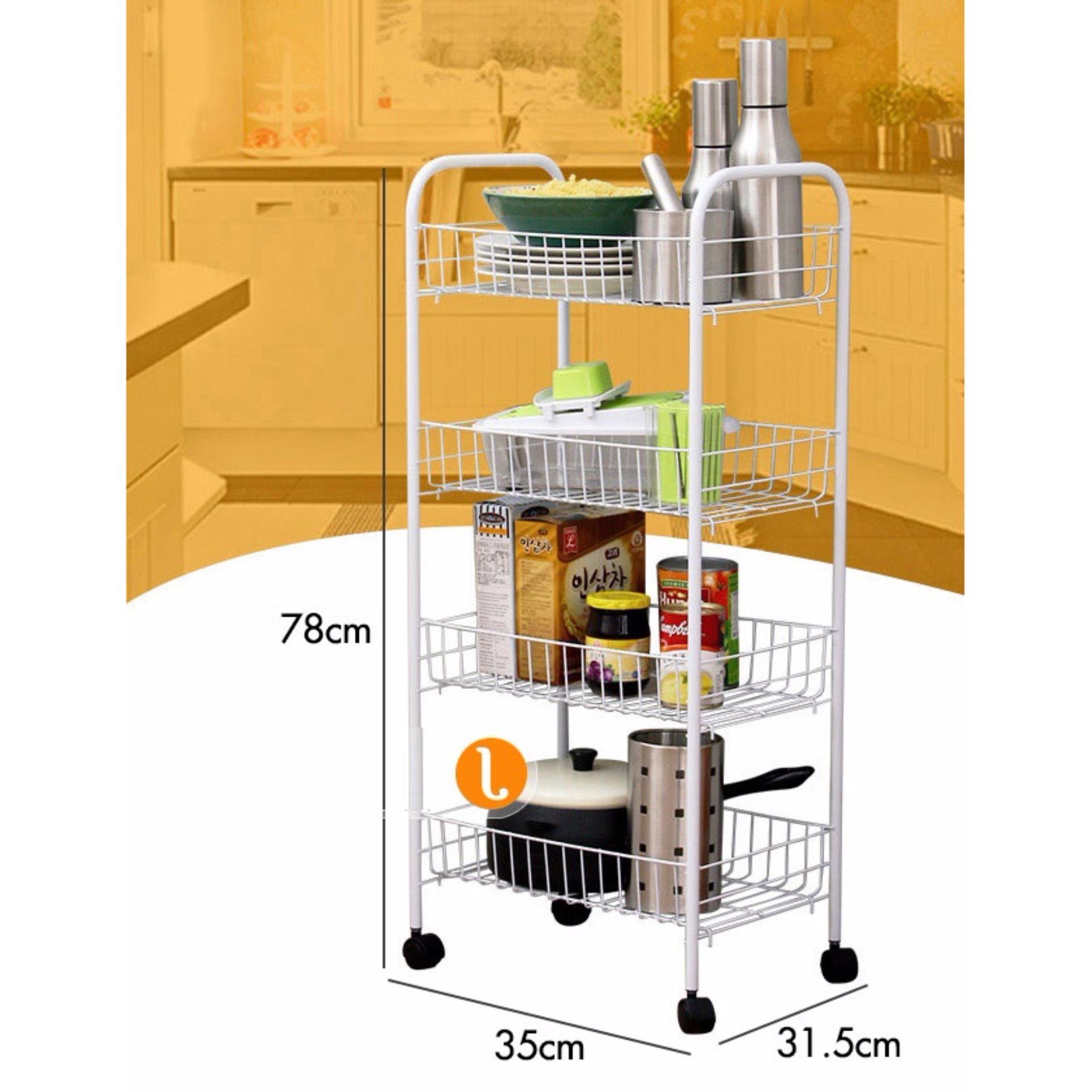 Kệ để đồ nhà bếp 4 tầng đa năng có bánh xe hàng cao cấp