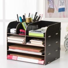 Kể để sách,đệ đựng dụng cụ văn phòng, kệ để bàn làm việc lắp ráp (Đen)