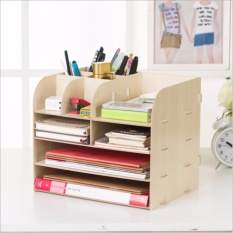 Kể để sách,đệ đựng dụng cụ văn phòng, kệ để bàn làm việc lắp ráp (Trắng)