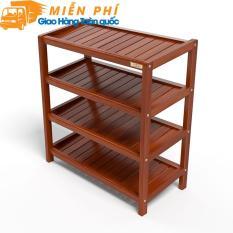 Kệ dép 4 tầng IB463 gỗ cao su 63 x 30 x 68 cm màu cánh gián