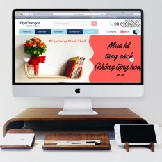 Bàn kê màn hình máy tính bằng gỗ uốn cong và Combo Plyconcept Desk Set: Phone Holder, NameCard Holder, Pen Tray – Màu Gỗ Walnut