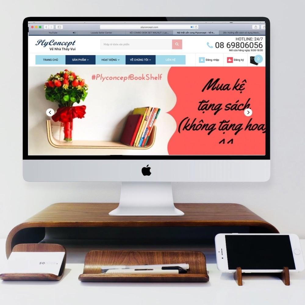 Bàn kê màn hình máy tính bằng gỗ uốn cong và Combo Plyconcept Desk Set: Phone Holder, NameCard Holder, Pen Tray – Gỗ Walnut