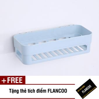 Kệ nhà tắm dán tường chắc chắn S0010 (Xanh dương) + Tặng kèm thẻtích điểm Flancoo