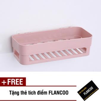 Kệ nhà tắm dán tường chắc chắn S0011 (Hồng) + Tặng kèm thẻ tích điểm Flancoo