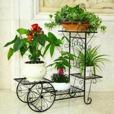 Kệ sắt trang trí phòng khách và để cây cảnh,chậu hoa hình bánh xe
