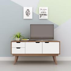Kệ tivi TheMaker CS17 Vân gỗ đậm phối trắng