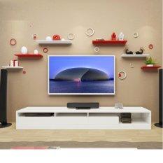 Kệ tivi treo tường gỗ lõi xanh chống ẩm bộ 6 thanh thanh ngang 40-50-60cm gỗ dày 2cm (Trắng Đỏ)