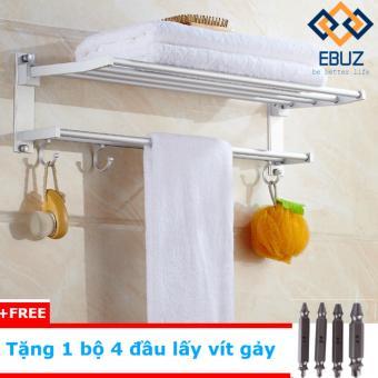 Kệ treo khăn tắm đa năng nhôm EBUZ8015 (Trắng bạc) + Tặng 1 bộ 4 đầu vít lấy vít gảy EBUZ