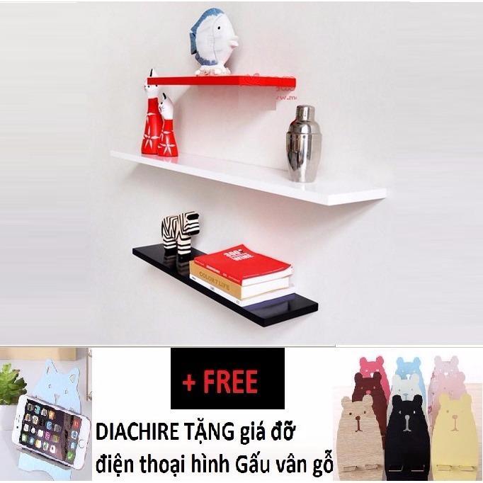 Kệ treo tường Diachire bộ 3 thanh 30-40-50cm (3 màu) + Tặng giá đỡ điện thoại hình gấu