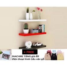 Kệ treo tường DIACHIRE Gỗ Xanh Chống Ẩm cho tivi nhỏ dưới 2m bộ 3 thanh 30cm (Đỏ Trắng Đen) + TẶNG giá đỡ điện thoại hình Gấu