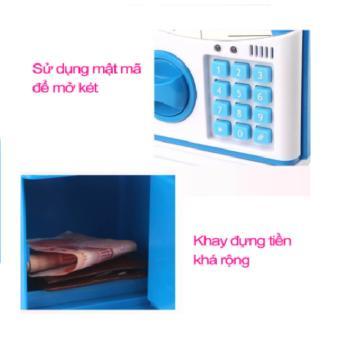 Két mini đựng tiền thông minh mở bằng mật mã (xanh)