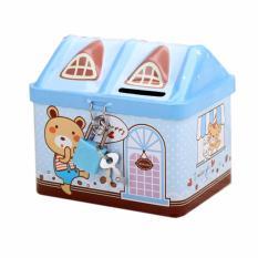 Két sắt mini hình nhà, dạy bé cách tiết kiệm (màu xanh)