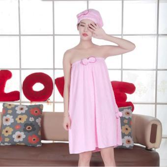 Khăn tắm thời trang Hàn Quốc + Tặng mũ choàng tóc (Hồng)