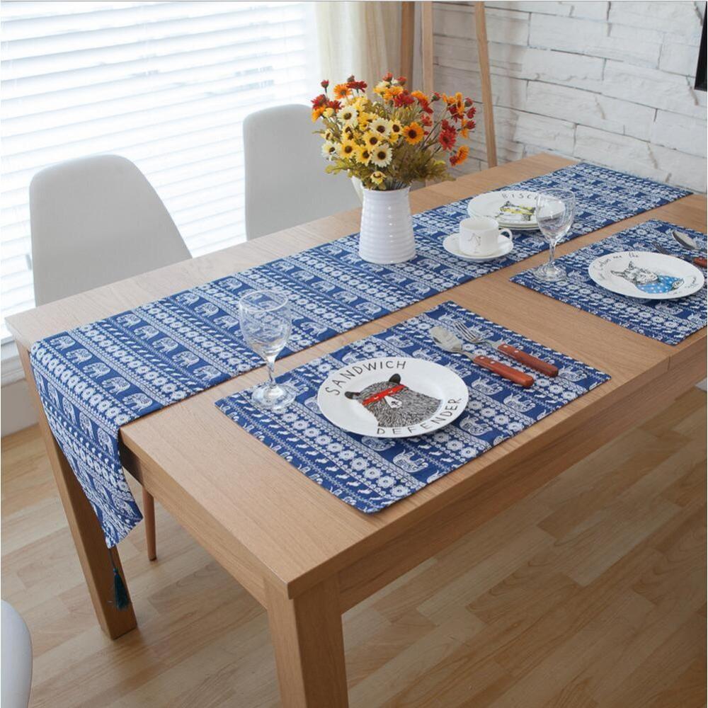 Khăn trải bàn table runner voi xanh KTB-VX tặng kèm túi đựng giấy ăn con cú